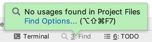 No usages found popup