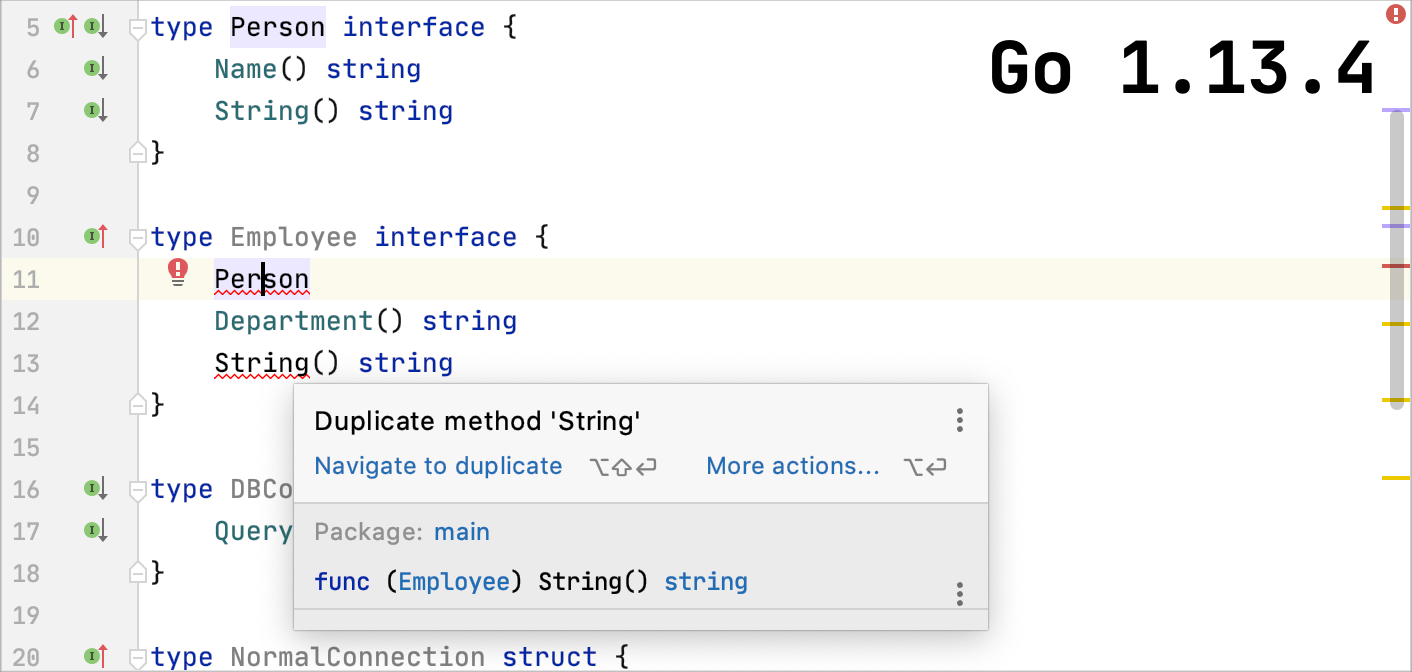 Go 1.13.4 does not support embedding overlapping interfaces