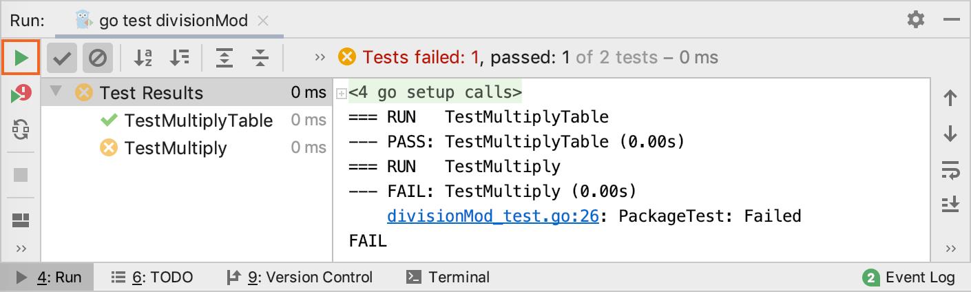 Rerun tests