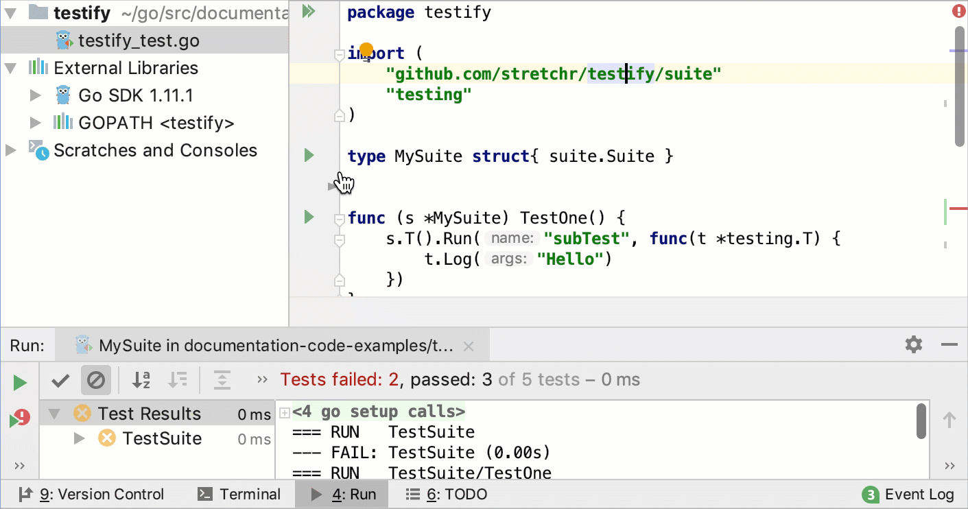 Run tests with Testify