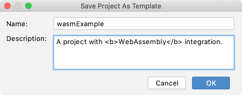 Saving a project as a template