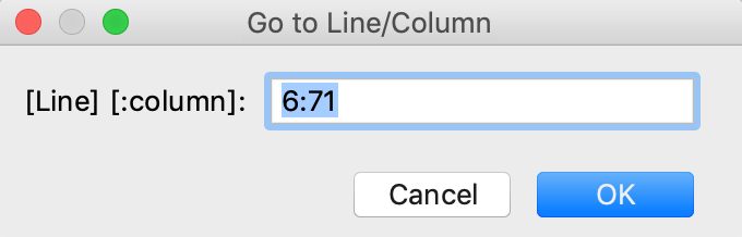 Go to line/column dialog