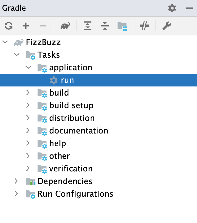 Gradle tool window: run task