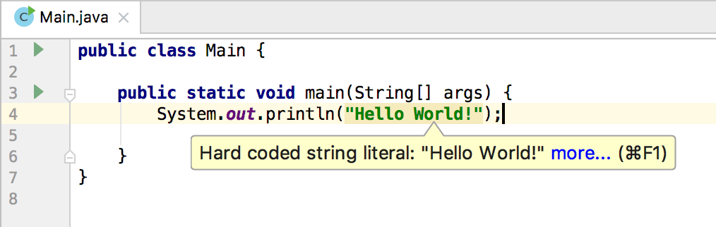 Highlighted hard-coded string literal