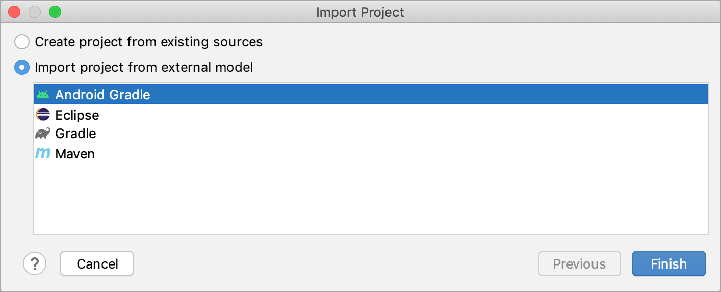 Importing a project from an external model