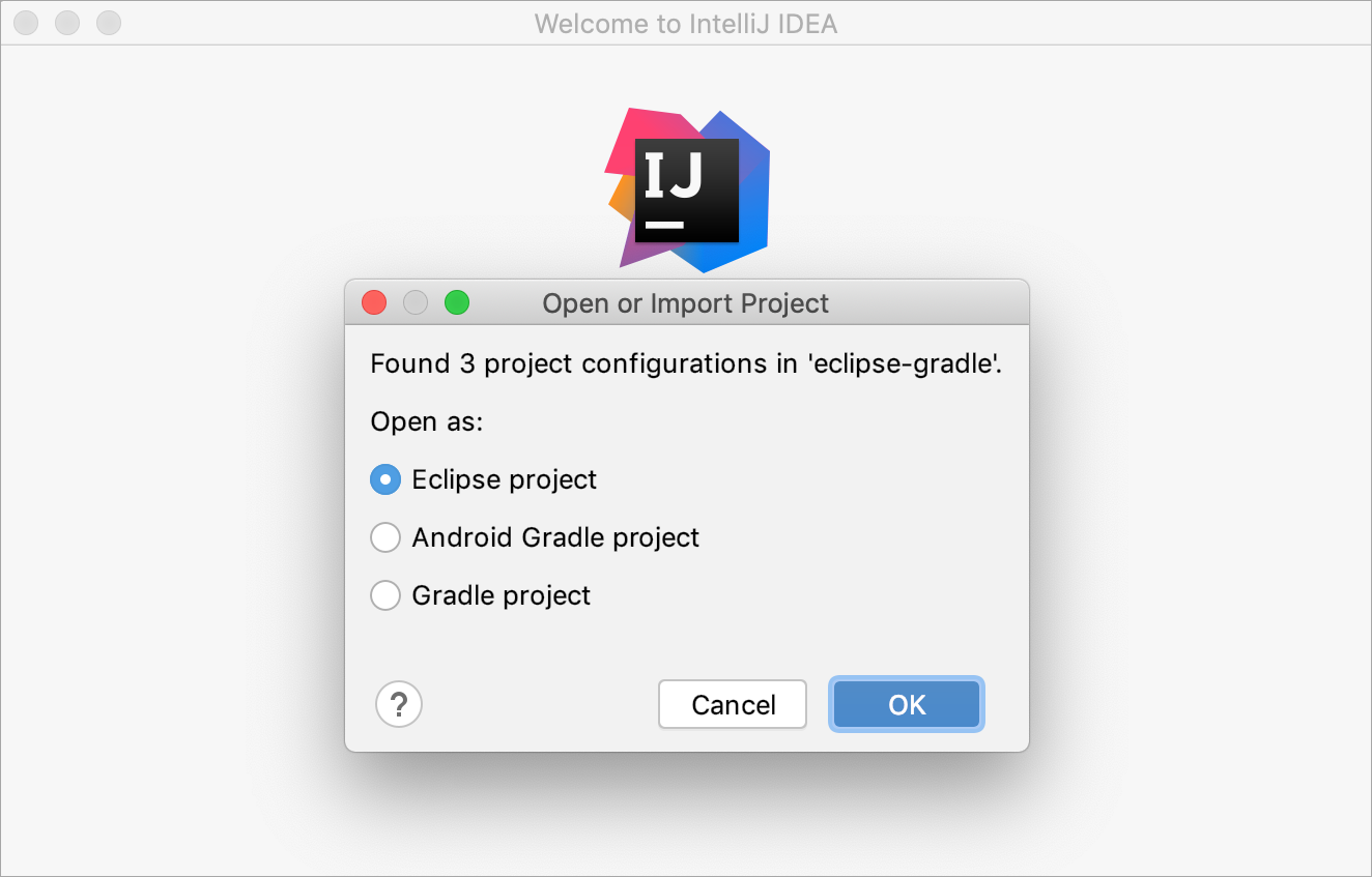 Dialog that prompts you to select how you want to import the project