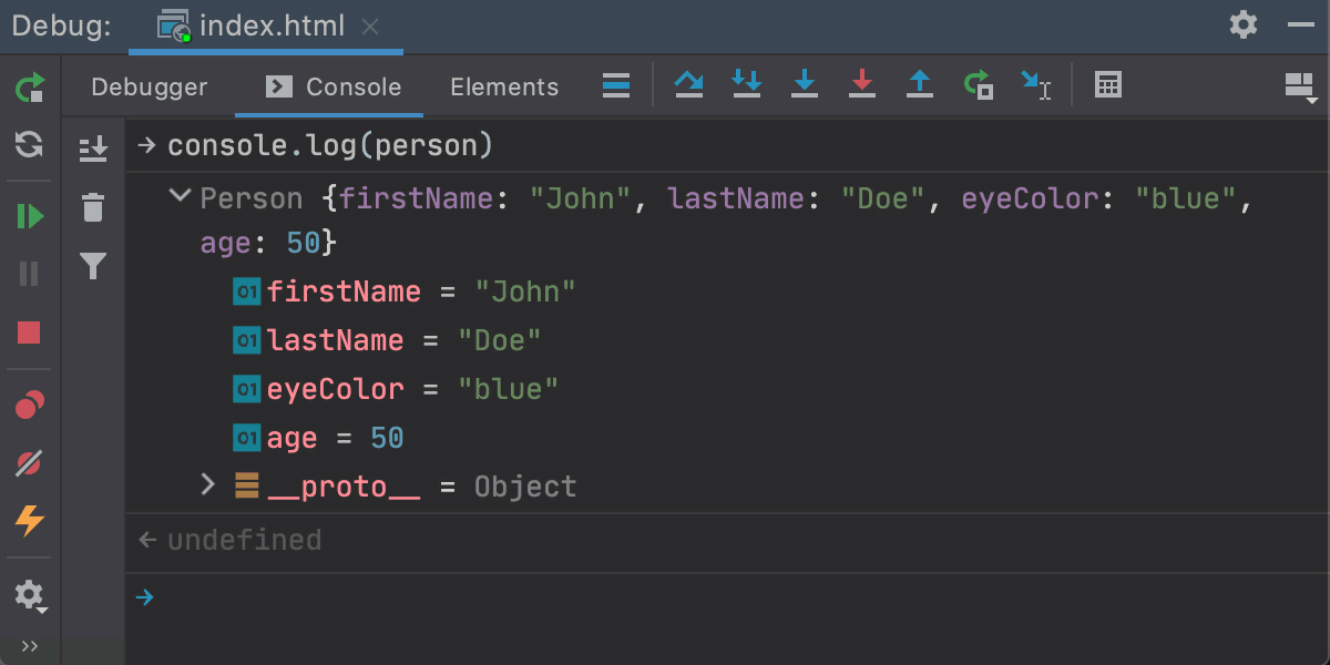 JavaScript interactive debugger console shows an object in a tree view