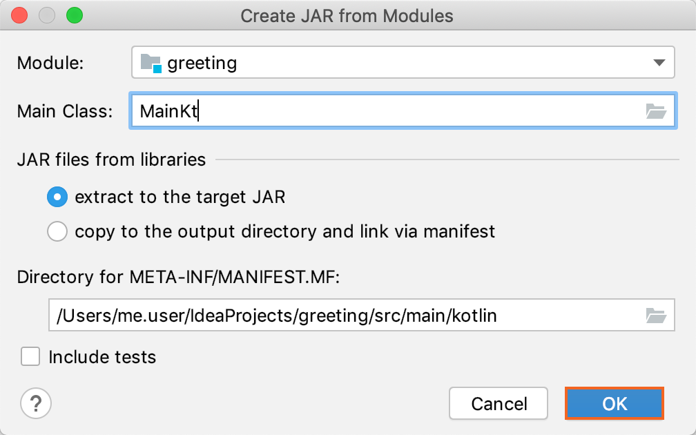 The Create JAR from Modules dialog