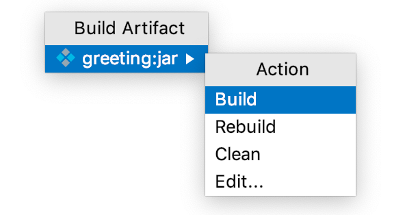 The Build option in the Build Artifact menu