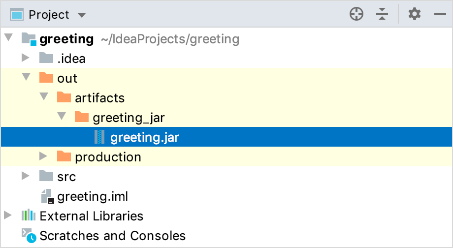 The resulting JAR in the out directory viewed using the Project Tool Window