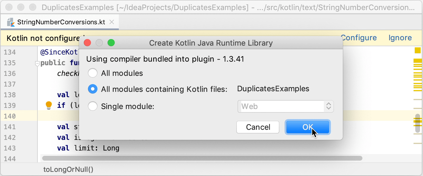 Configuring Kotlin in a Java project