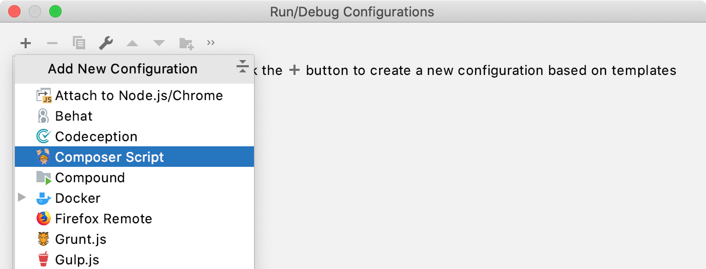 Add new Composer Script run configuration
