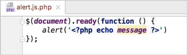 Mixed syntax highlighting in a js.php file