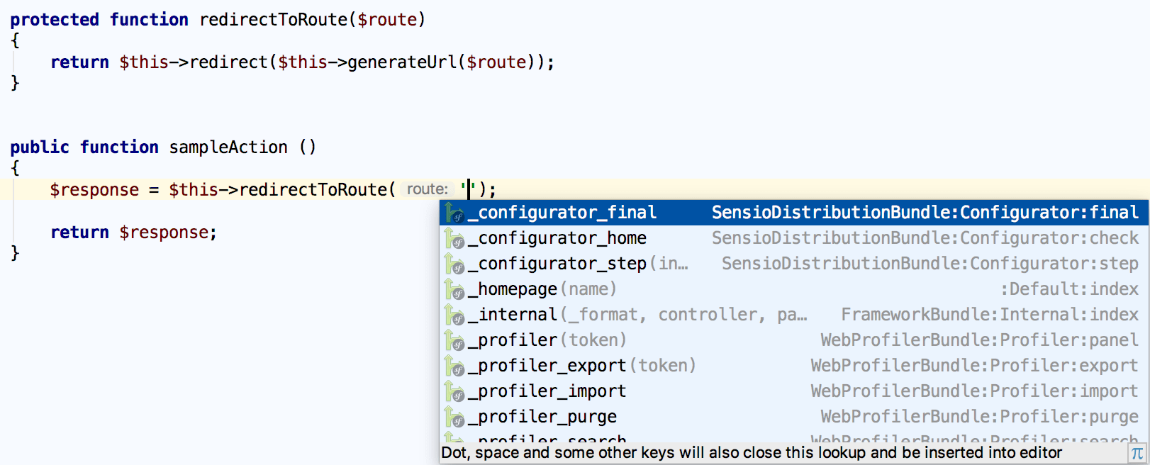 Symfony route name completion in a helper function