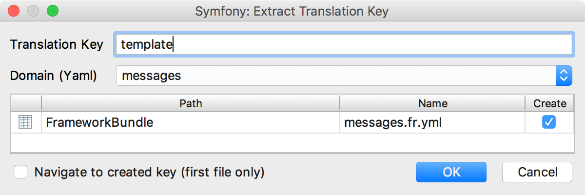 the Extract Translation dialog