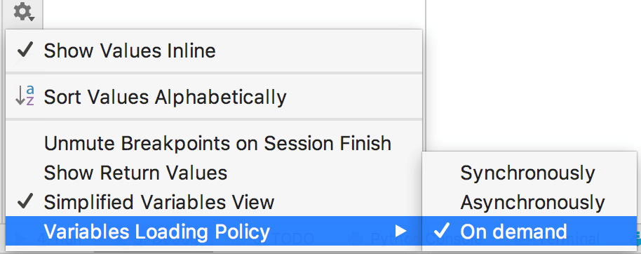 Select the variables loading policy