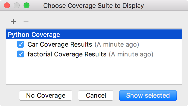 Choose Coverage Suite to Display dialog
