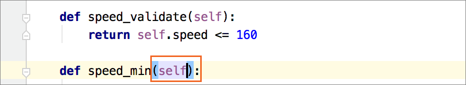Insert 'self' when defining a method