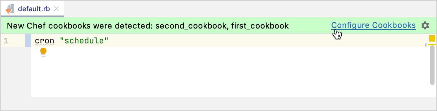 Configure a cookbook from the editor