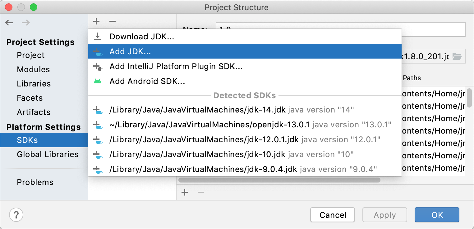 Show available SDKs in the Project Structure dialog