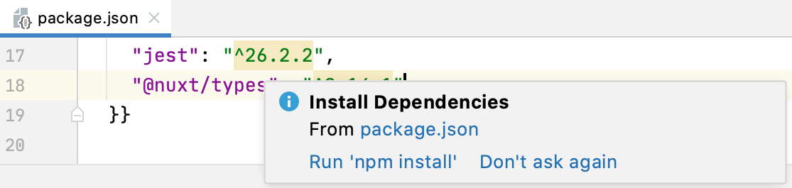 Install dependencies popup