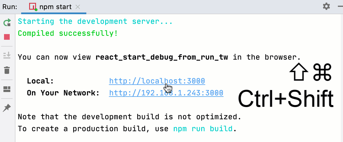 Start debugging a React app from the Run tool window