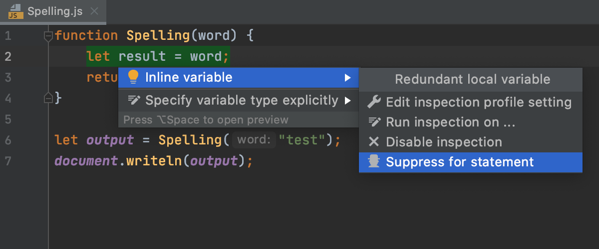 Suppressing an inspection in the editor  (JavaScript or TypeScript)