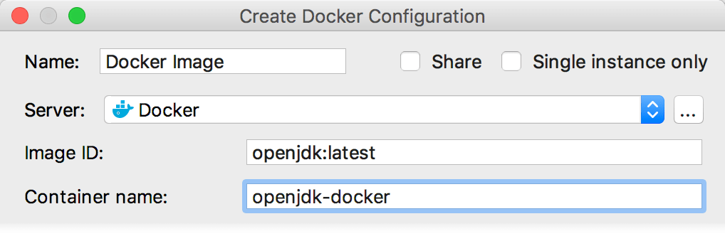 The Create Docker Configuration dialog
