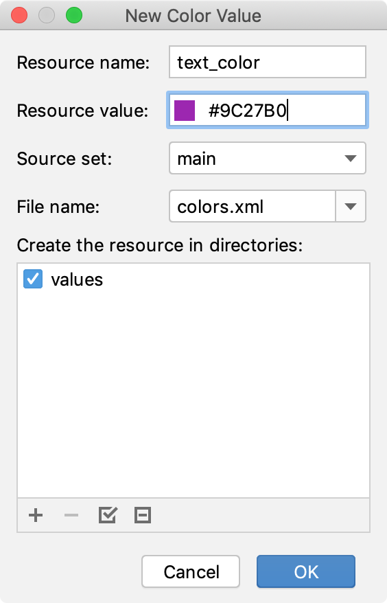 Text color resource