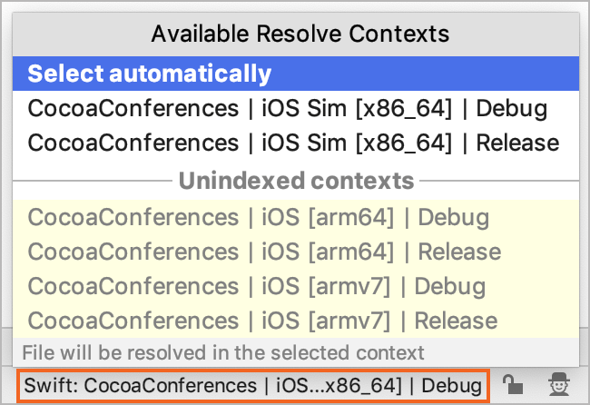 Available Resolve Contexts