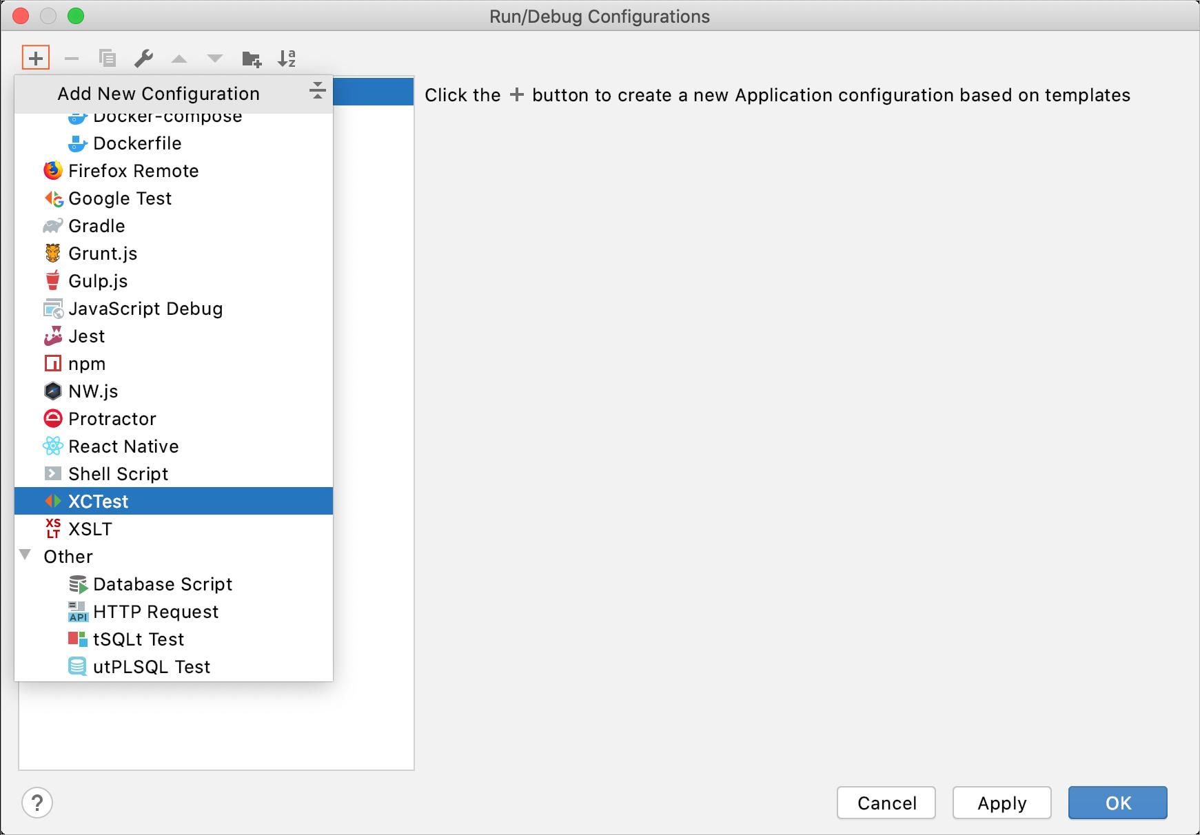 Add a new XCTest configuration