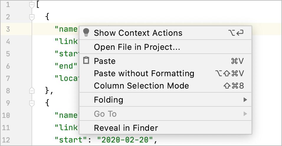 LightEditor the context menu