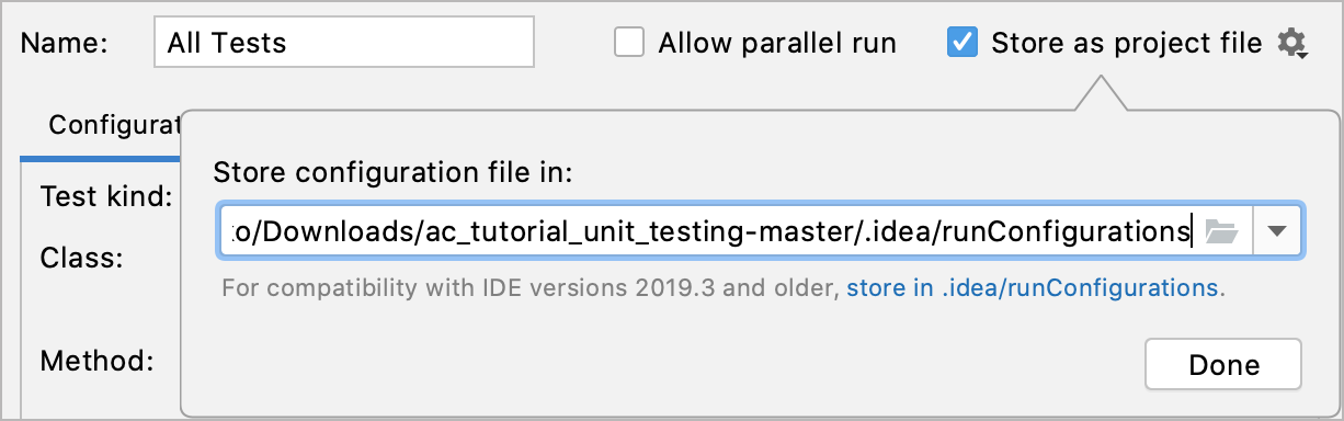 Store as project file checkbox