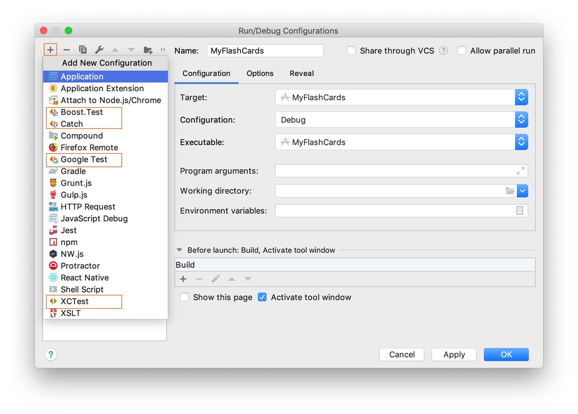 Add a run/debug configuration for tests