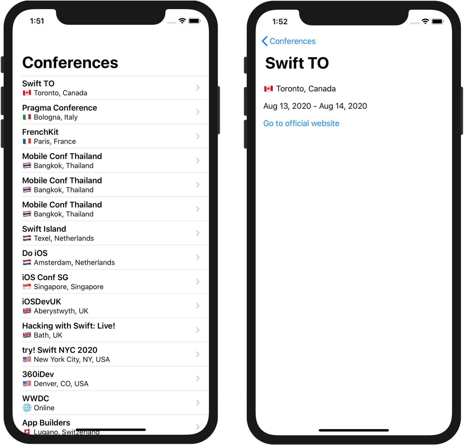 The iOSConferences application