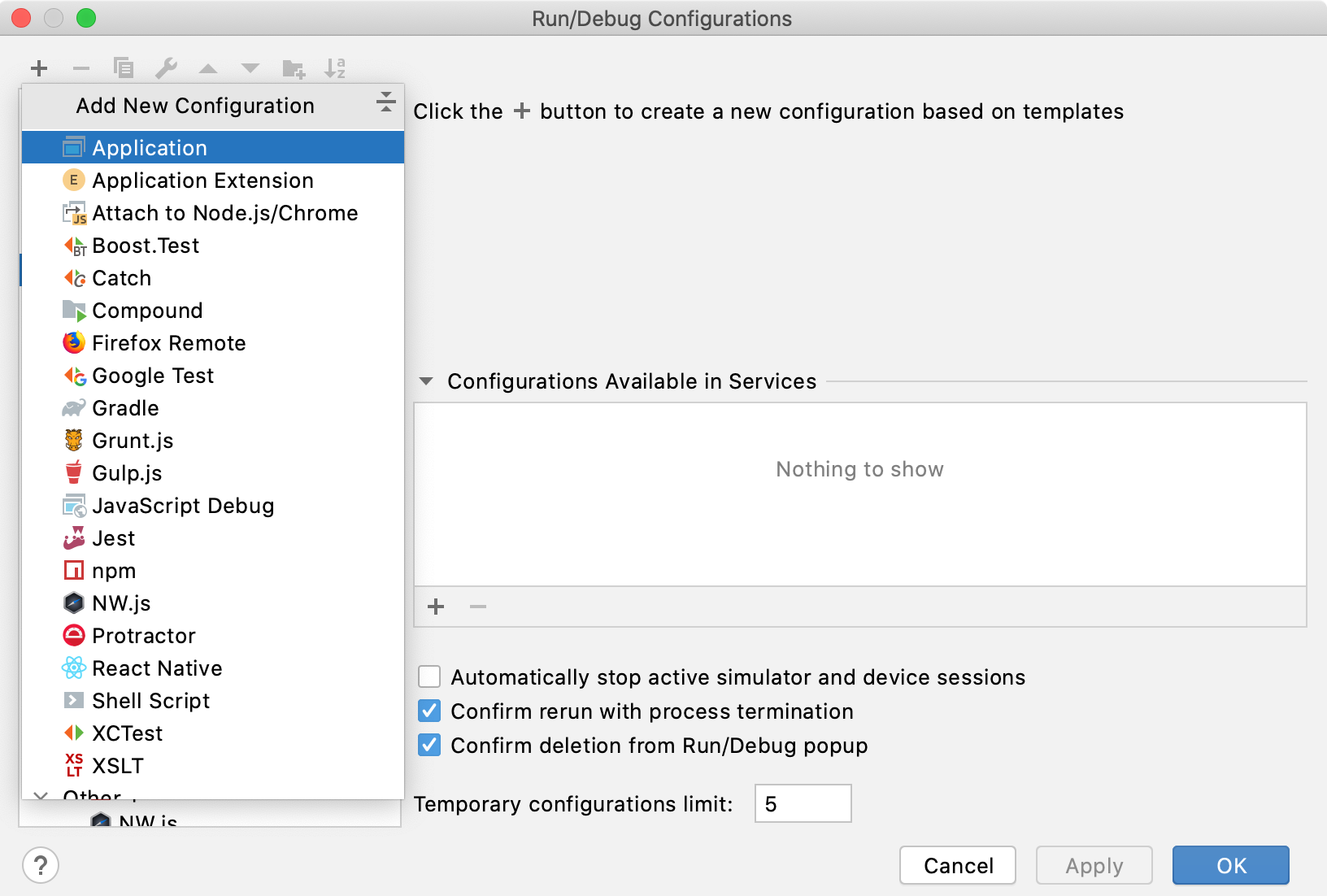 Selecting a new run/debug configuration template