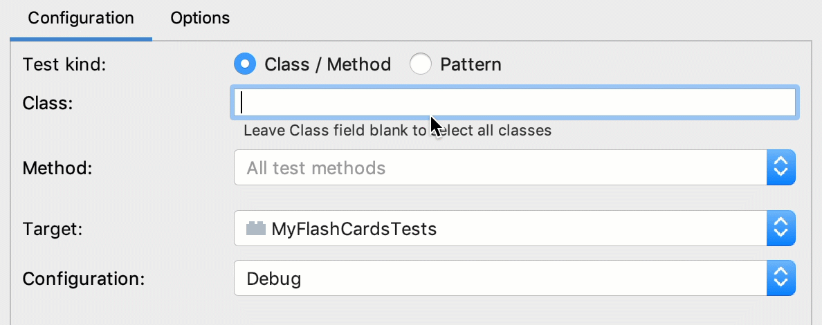 Select test class and methods