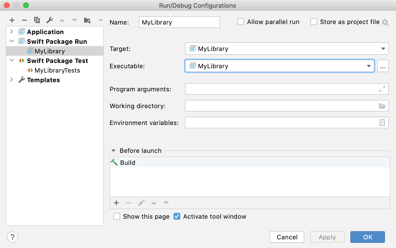 Swift Packages run/debug configurations
