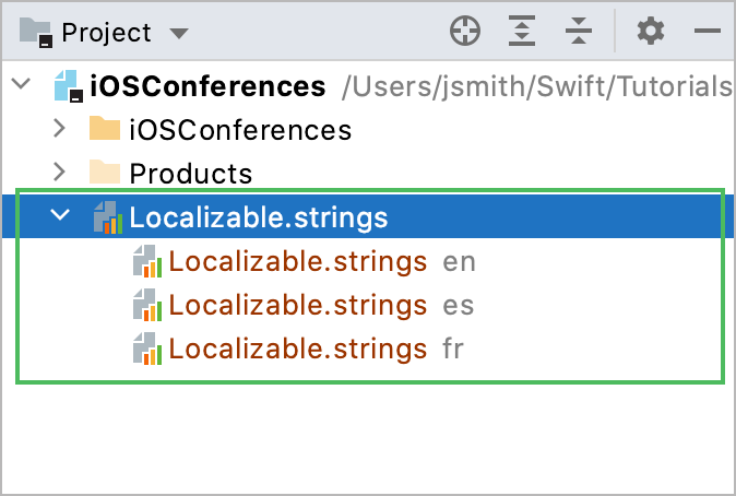 Strings files in Project view