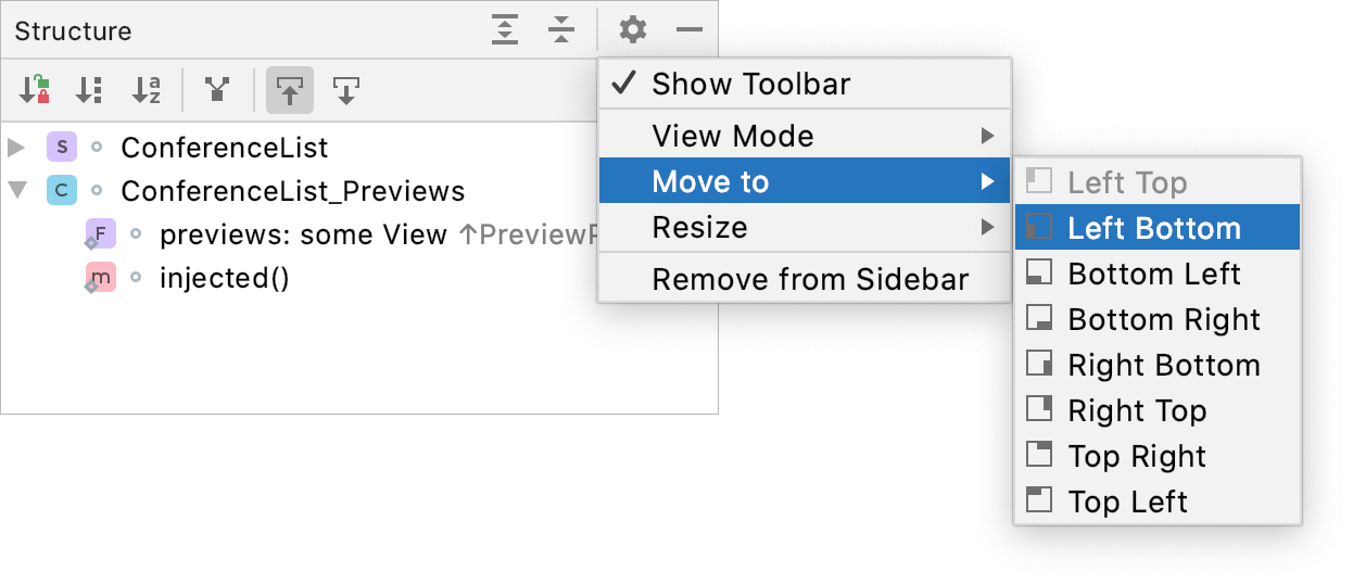 Tool window options menu: Move to