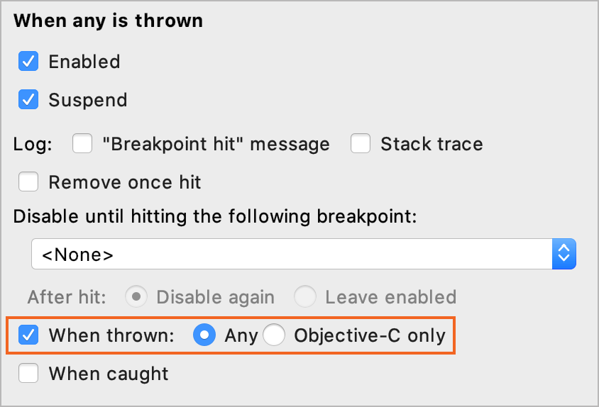 When any exception is thrown option