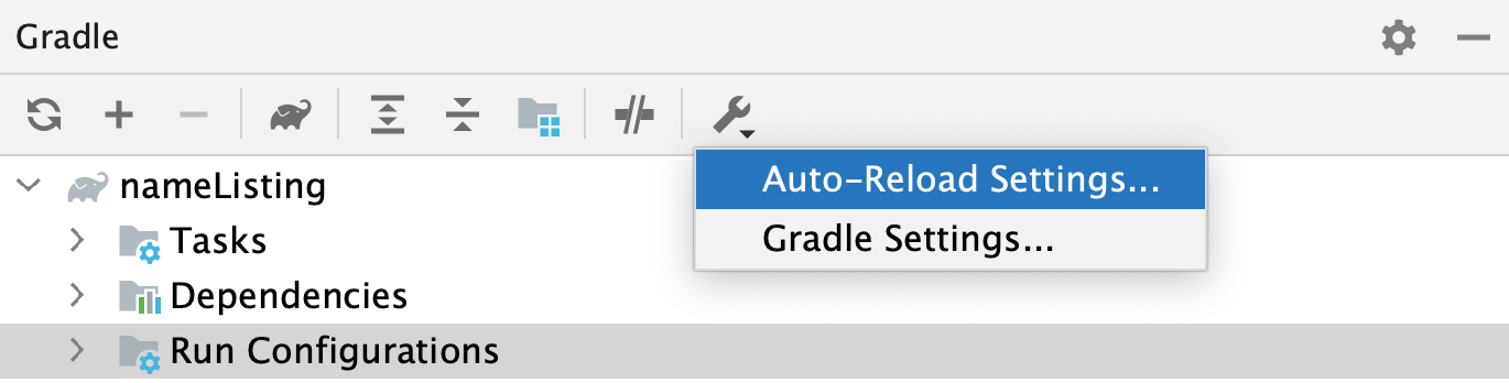 the Gradle tool window