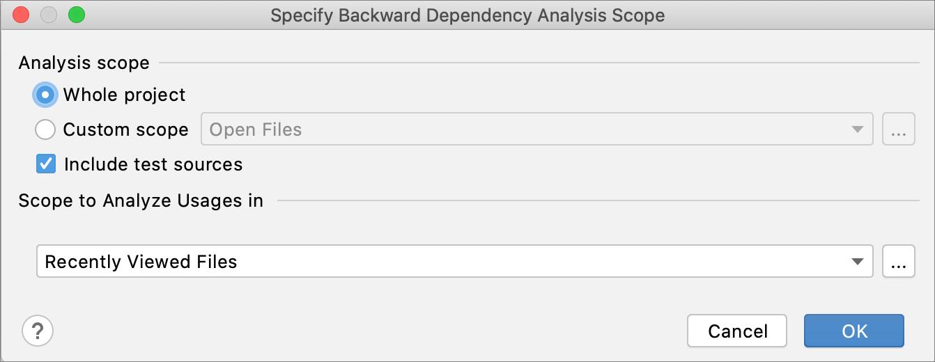 Running the backward dependencies analysis