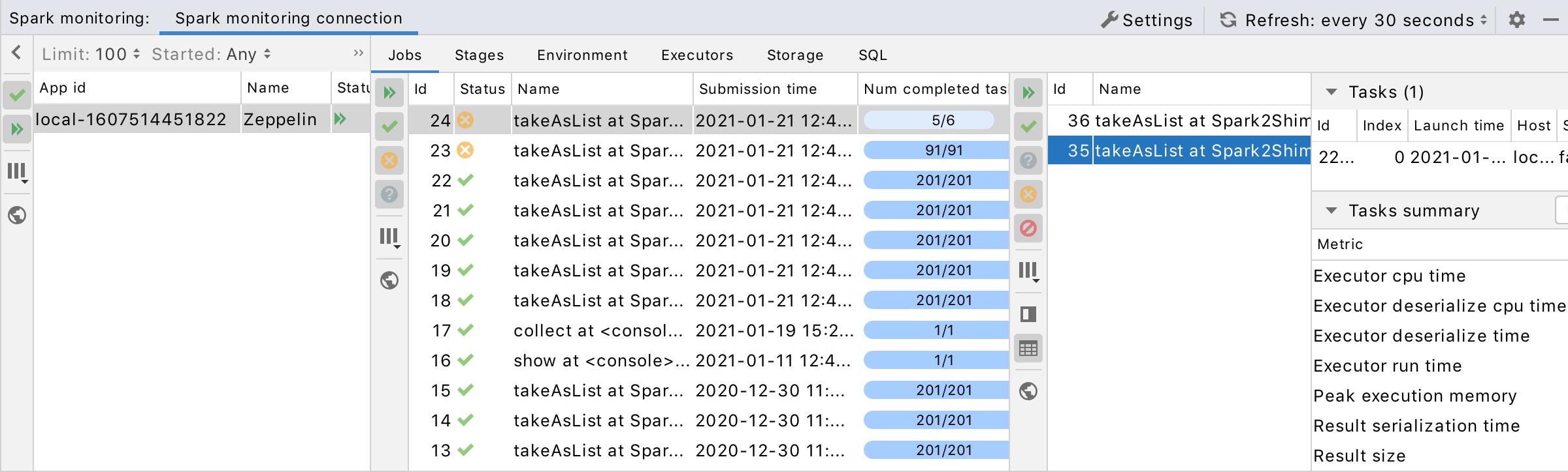 Spark monitoring: jobs