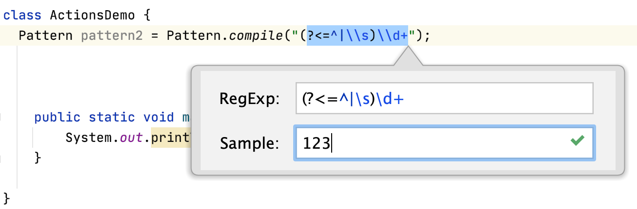 A dialog with current regex