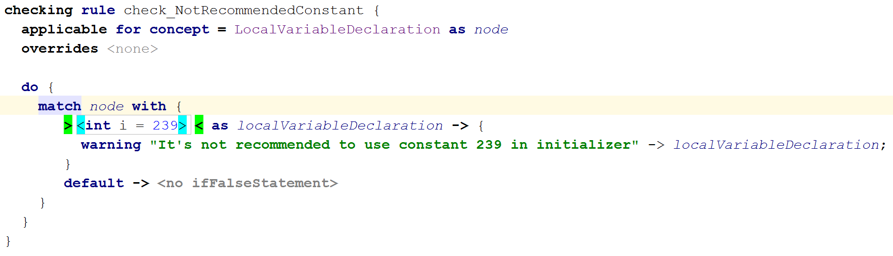 Checking rule pattern