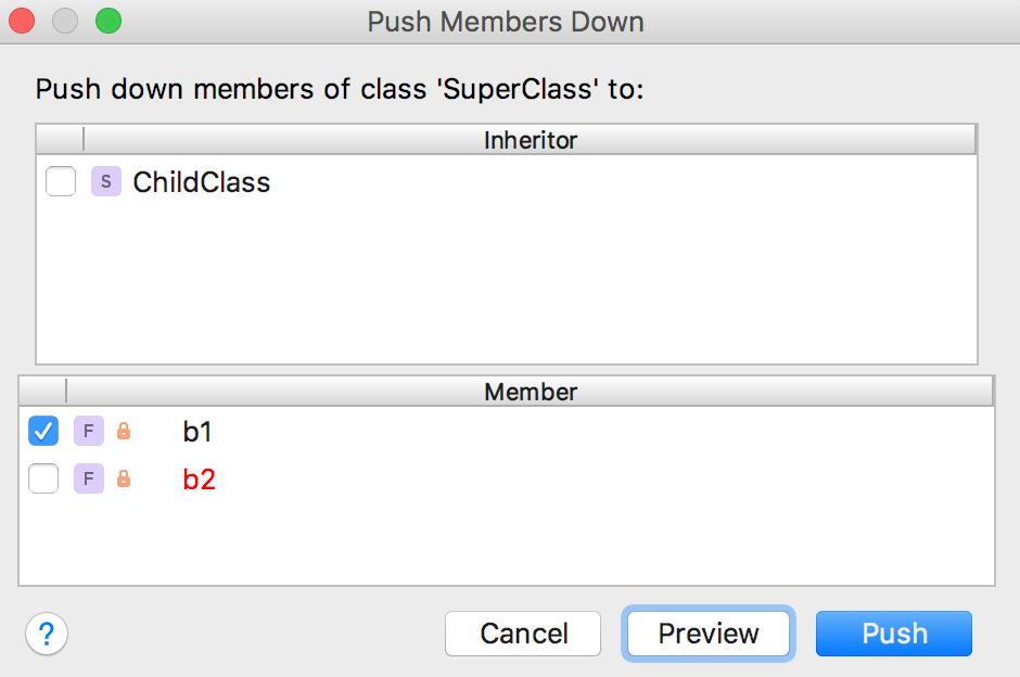 Push members down error 2