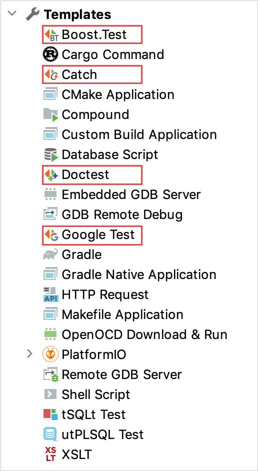 Run/debug configuration templates for testing frameworks