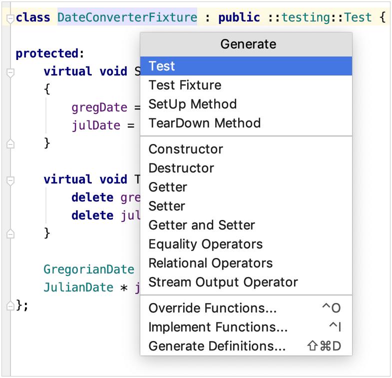 generate menu for tests