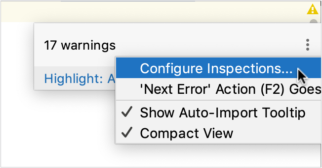 Accessing inspections setting from the editor widget